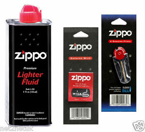 Original Zippo Lighter Fuel Fluid Petrol   1 X Wick X 6 Flints UK SELLER