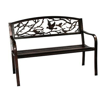 Bird Back Metal Steel PVC Bench 2 Seater Garden Patio Seating Decking Lawn