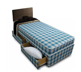 **100% GUARANTEED PRICE!**Single Bed/Double/Small Double Divan Bed With Dual Sided Economy Mattress