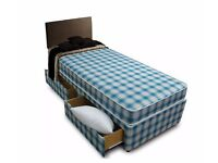 BRAND NEW- Single Divan Complete Bed with 8inch Economy ECO-Sprung Mattress - SAME DAY DELIVERY!
