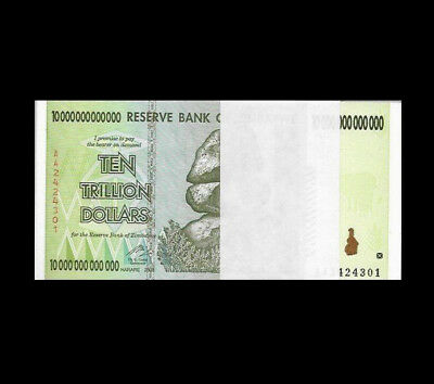 Zimbabwe 10 Trillion Dollars X  (1 Note Only) AA/2008, UNC, Lot Of One, Set Of 1