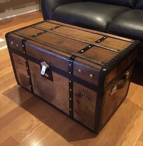 Antique Trunk - Stagecoach 1890's- refinished - Coffee Table