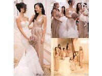 Rose gold sequin bridemaid dresses