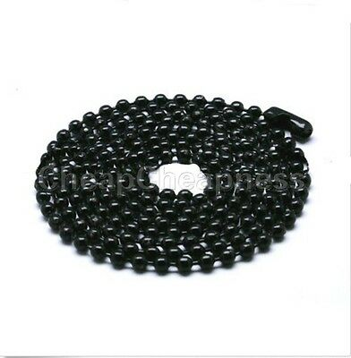 Black Silver Titanium Steel Ball Beads Chain Necklace Bead Connector Fashion RS Black Bead Chain Necklace