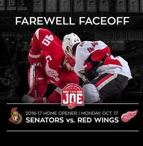 2  NHL HOCKEY TICKETS DETROIT  RED WINGS OTTAWA SENATORS