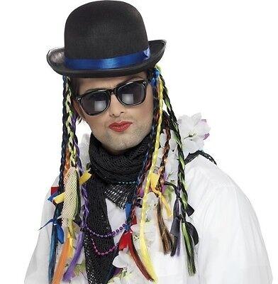80er Jahre 1980er Kostüm Chameleon Hut mit Zöpfe Boy George Neues von Smiffys (Boy 80er Jahre Kostüm)