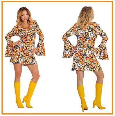eise Groovy Style Kleid Kostüm 70er Jahre Minikleid, (K) (Hippie Groovy)