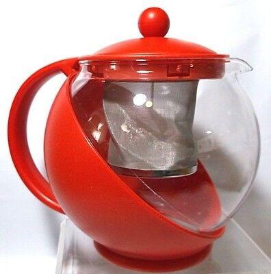 Tea Ball Teapot Glass Plastic Red Loose Leaf Basket Infuser Strainer