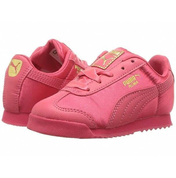 Puma Roma 36509501 Satin Paradise Pink Team Gold Infant Toddler Baby Girl Shoes