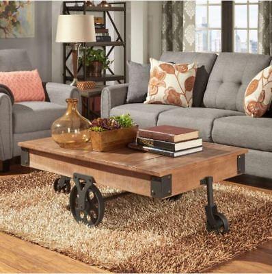 Best Coffee Table Cart Rustic Reclaimed Wood Metal Wheel Farmhouse Furniture New