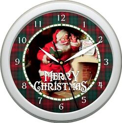 Christmas Wall Clock Vintage Santa Claus 1 Scene Plaid 10 Holiday Gift Xmas