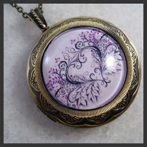 Purple-Flower-Heart-Brass-Picture-Locket-Pendant-Necklace
