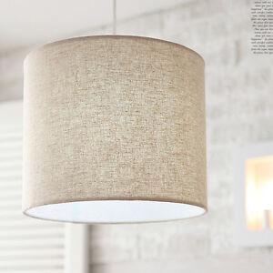 Fabric Shade Drum Ceiling Light Pendant 1 Lighting Fixture Oatmeal Color EBay