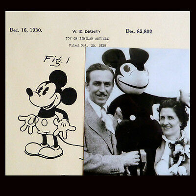 Vintage 1930 ~ Walt Disney MICKEY MOUSE ~ Patent Drawing + Rare Photo