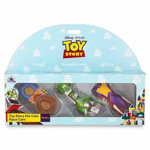 Disney Parks Store Pixar 3pc TOY STORY Die Cast Race Cars Woody Buzz Zurg New