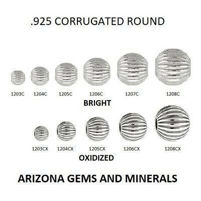 - Sterling Silver.925 Corrugated Round Beads Bright & Ox. Choose Size & QTY. 3-8mm