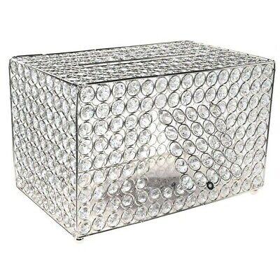 "NEW Crystal Wedding Envelope Box 13 1/4"" Silver-metal & Glass-crystals"