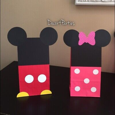 Mickey And Minnie Mouse Party Favor Bags - Mickey And Minnie house Birthday Bags