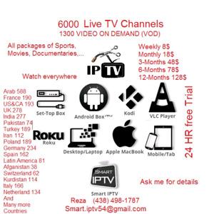 6000 live tv channels IPTV+ 1300 VOD
