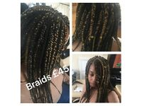 MOBILE AFRO HAIRDRESSER- Waist Length Braids £45,weaves from only £10,crochet from £25!