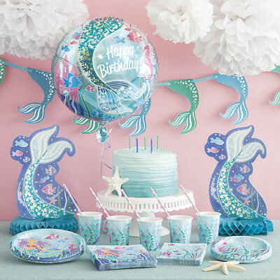 Mermaid Party Supplies Tableware, Balloons, Decorations, Banners, Bags