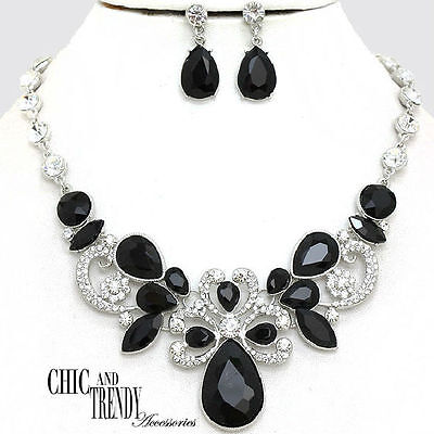 HIGH END BLACK CLEAR CHUNKY CRYSTAL PROM WEDDING FORMAL NECKLACE JEWELRY SET