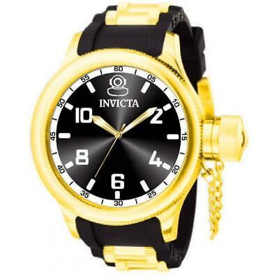 Invicta Russian Diver 1436 Men's Round Gold Tone Analog Black Polyurethane Watch