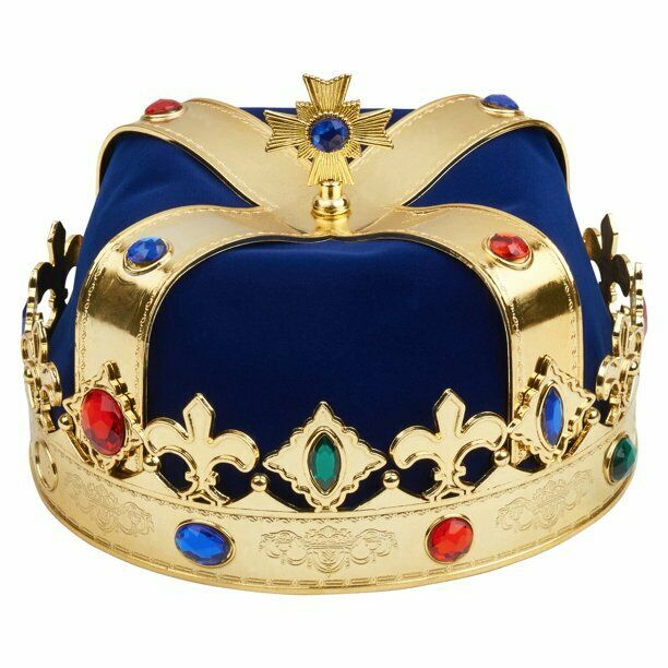 Jeweled Costume King Crown for Royal King or Queen
