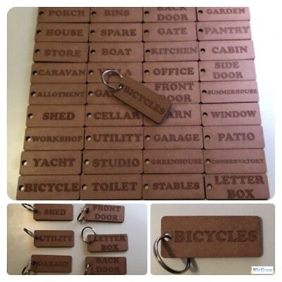 SET of any x 12 Engraved Personalised Key Tags Garage Door Organisation