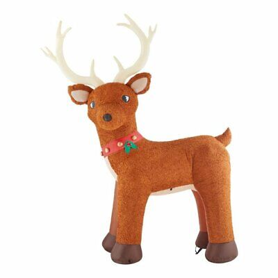 Home Accents 10.5 ft. Pre-Lit LED Giant Sized Inflatable Fuzzy Standing Reindeer