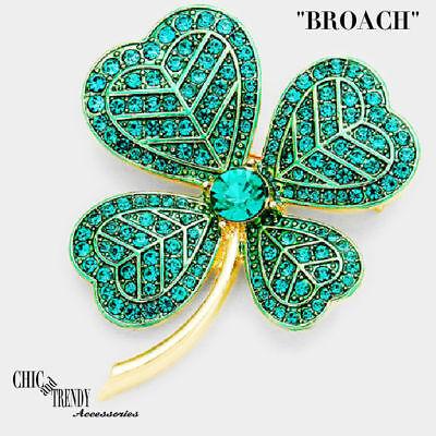 IRISH GREEN FOUR LEAF CLOVER CRYSTAL CHUNKY PIN BROACH TRENDY JEWELRY