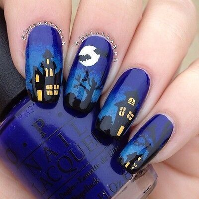 Halloween Bats Spooky House Nail Art Design Decals Water Transfers Stickers #745