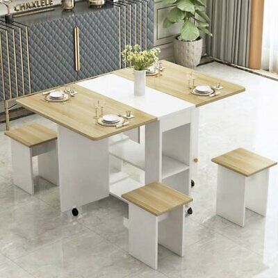 5 Piece Dining Room Set Modern 4 Chairs Folding Table Two-tier Storage Kitchen