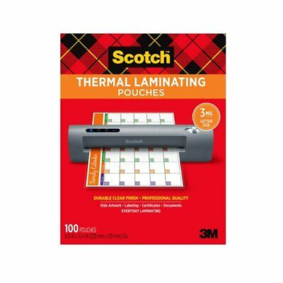 Scotch Thermal Laminating Pouches 100 Count 8.5 X 11 3 Mil Thick