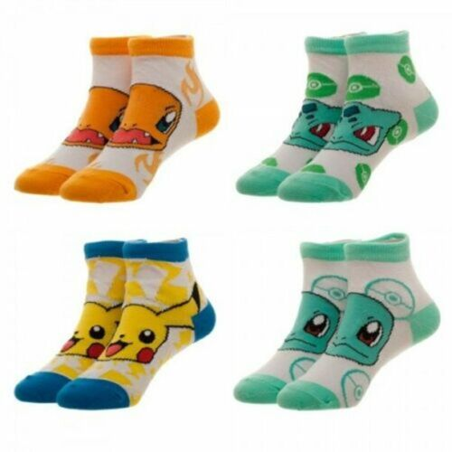 4 pack KIDS POKEMON Charmander PIKACHU Squirtle BULBASAUR socks 7-9