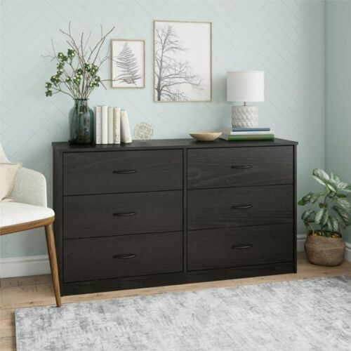 Mainstays Classic 6 Drawer Dresser, Black Oak Finish , good