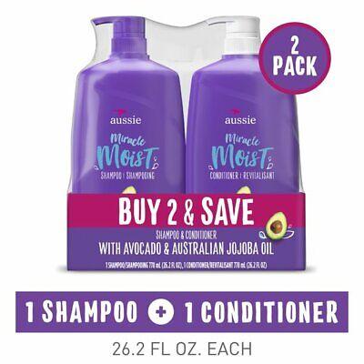 Aussie Miracle Moist Shampoo and Conditioner Hair Set, 26.2 fl oz