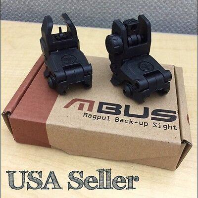 Tactical AR Front & Rear Set Flip Up Back Up Sights BLACK 223 5.56