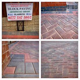Quality Driveways, Block Paving, Slabbing, Artificial Grass Installation by J.M Property Maintenance