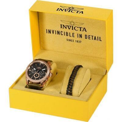 Invicta Aviator 29799 Men's Round Chronograph Date Watch & Leather Bracelet Set