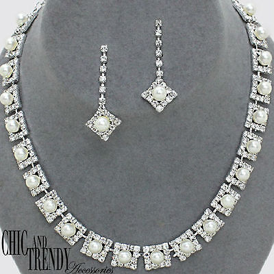 CLASSIC WHITE PEARL PROM BRIDESMAID WEDDING FORMAL NECKLACE JEWELRY SET TRENDY