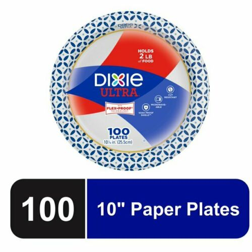 """Dixie Ultra Paper Dinner Plates, 10 1/16"""", 100 Count FREE SHIPPING"""