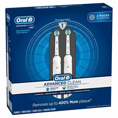 Oral-B Avanzado Limpiar Recargable Eléctrico Cepillos de Dientes, 2-pack