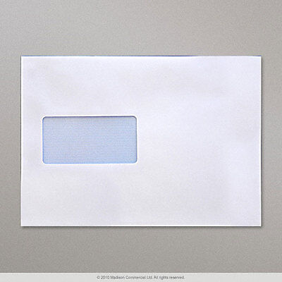 50 C5 Window Envelopes Paper Wallets 229x162mm Self Seal Cheap White Letter Post