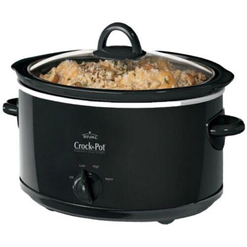 Heavy Duty Crock Pot Slow Cooker Oval 4 Quart Manual Stainle