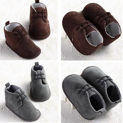 Newborn Toddler Girls Boys Lace-up Crib Shoes Baby Prewalker Soft Sole Sneakers