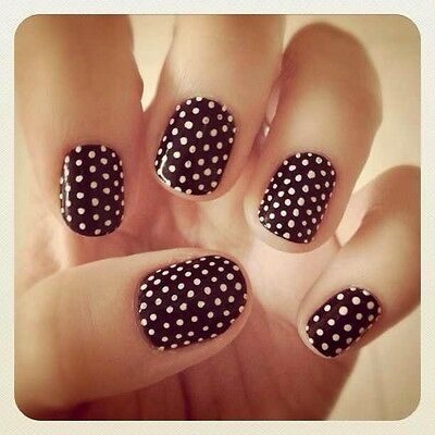 Polka dot nail art ebay 2 x nail polish 1 x tool to make the dots with a piece of plastic to put the dotting color polish on prinsesfo Gallery