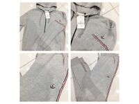 Brand New With Tags Men's Moncler Grey Hooded Tracksuits
