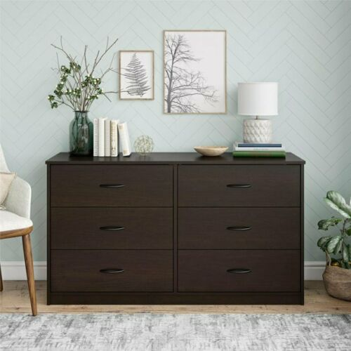 6 Drawer Dresser Furniture Bedroom Organizer Chest Of Drawers Brown Finish