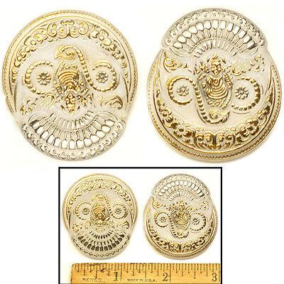 SALE 45mm Vintage Czech Glass FOCAL Crystal Buddha GODDESS Phoenix Buttons 2pc